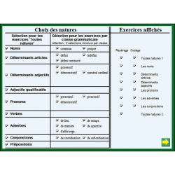 Paramétrage des exercices