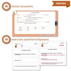 Un ensemble de 76 exercices : textes lacunaires et questions/réponses.
