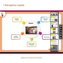 Une barre d'outils permanente pour une navigation simple et rapide dans l'application.