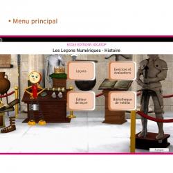 Un menu principal pour accéder aux leçons, aux exercices et évaluations, à l'éditeur de leçon et à la bibliothèque de médias.